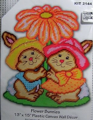 """Design Works Plastic Canvas Wallhanging Kit: """"Flower Baby Bunny Pair"""" Wall Decor"""