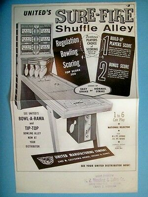 1960 United SURE-FIRE Shuffle Alley & TIP-TOP Ball Bowler Flyer