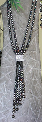 Big Dramatic Multi Strand Rainbow Peacock Pearls Sterling Silver Lariat Necklace