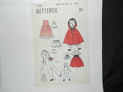 VINTAGE 1948 ...14 IN...LITTLE RED RIDING HOOD ...DOLL BODY & CLOTHES PATTERN ..