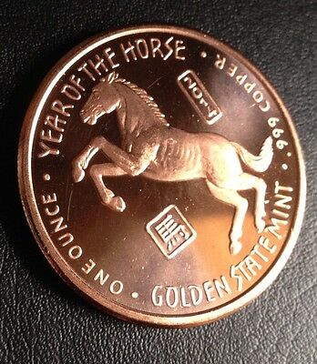 Silver Shield 1oz .999 FINE PURE COPPER COIN Year Of The Horse Golden State Mint