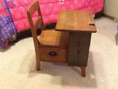Antique School Desk with Drawer by MOULTHROP Nice OAK Piece Small Desk