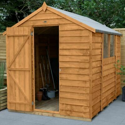 8x6 WOODEN GARDEN SHED APEX ROOF FELT WINDOWS FREE DELIVERY OUTDOOR STORE 8ft x6