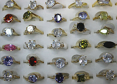 1Wholesale Lot 30pcs Cubic Zircon Colorful Gold Plated Lady's Wonderful Top ring