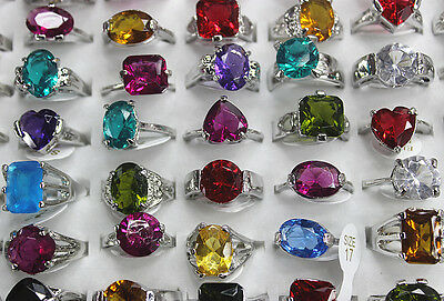 Fashion Lots 30pcs Imitation zircon Silver Plated Multicolor Wonderful rings