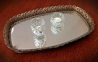 Antique/Vintage Ornate Gold Tone Brass Filagree Oval Footed Mirrored Vanity Tray