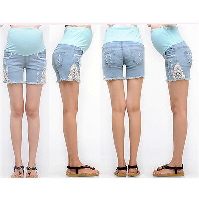 2c1887b5908d6 Maternity Overbumped Jeans Shorts Pregnancy Trousers Cute Comfy 6 8 10 12 14