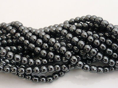 """4mm Non-Magnetic Black Hematite Round Beads 16"""" Strand (Approx.100 Beads)"""
