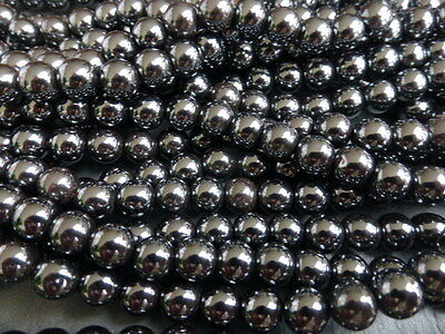 """1 x 16"""" Strand of 8mm Non-Magnetic Black Hematite Round Beads (Approx.53 Beads)"""