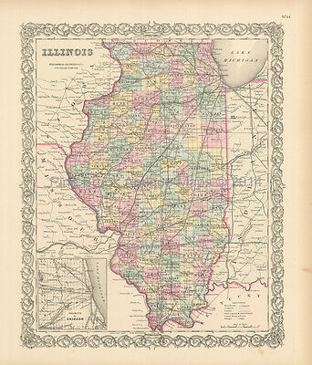 Illinois State Antique Map Colton 1856 Original