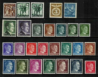 Germany WWII Nazi Reich Hitler & Swastikas, 27 diff mint, many NH - no reserve
