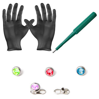 Piercing Kit Dermal Anchors and 4mm Top gems Dermal Bases Puncher and Gloves 8pc