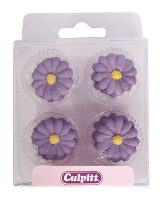 Culpitt 12pce PURPLE DAISY Edible Cupcake Cake Sugar Pipings Decorations Toppers