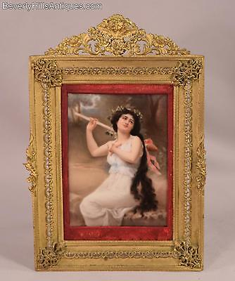 Beautiful Antique Painting on Porcelain Plaque Bacchante