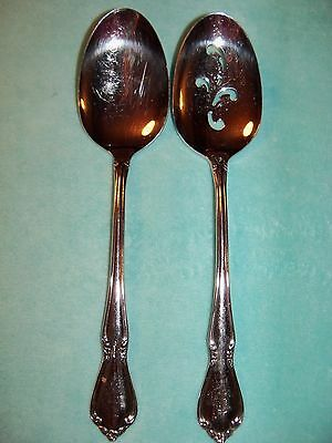 Set of 2 ONEIDACRAFT DELUXE Oneida Stainless CHATEAU Serving Spoon Solid&Pierced