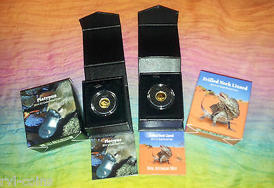 *massive  Savings* 2013 Lizard Solid Gold Proof & 2014 Platypus Solid Gold Proof