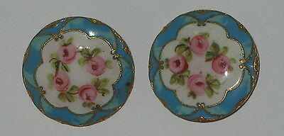 "2 VINTAGE CHAMPLEVE GILT & ENAMEL FRENCH ROBINS EGG BLUE PINK ROSES 1"" BUTTONS"