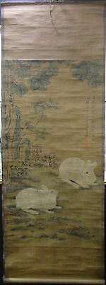 Qing Dynasty Chinese Antique Paintings Two Lovely Rabbits   Scroll painting