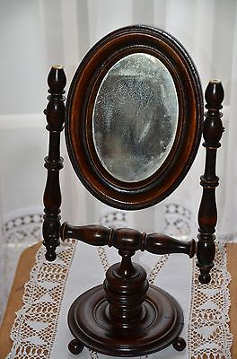Antique Dark Wooden Vanity, Dressing Table Mirror From Germany