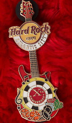 Hard Rock Cafe Pin Atlantic City 10TH ANNIVERSARY poker dice music note le