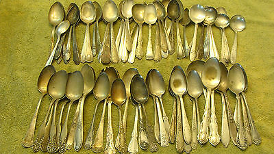 #2 VINTAGE ORNATE SILVER PLATED FLATWARE TABLE SPOON FOR DIY CRAFT LOT OF 80