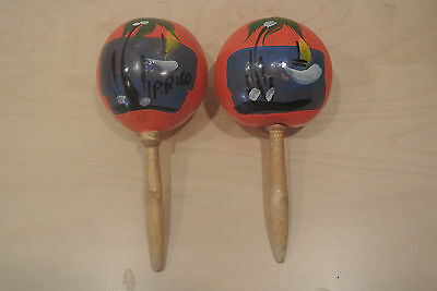 Vintage Maracas - Hand Painted from Cozumel Mexico