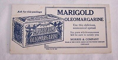 1940'S ERA UNUSED INK BLOTTER-MARIGOLD OLEOMARGARINE-NORTH AMER PROVISION-CHICAG