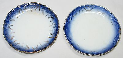 "Pair Two Antique Flow Blue Butter Pats,3 1/4"",Transferware"