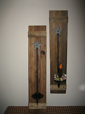 Wooden Sconces, Primitive Country handmade wall sconces, Country  decor, candles
