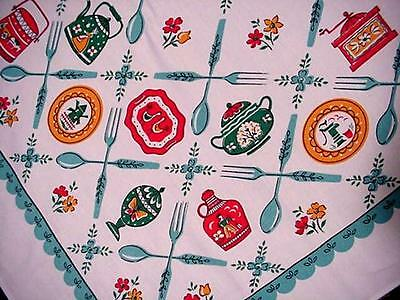 Vintage Aqua 50's MIDCENTURY Tablecloth FORKS SPOONS DISHES Modern Spring FAB!