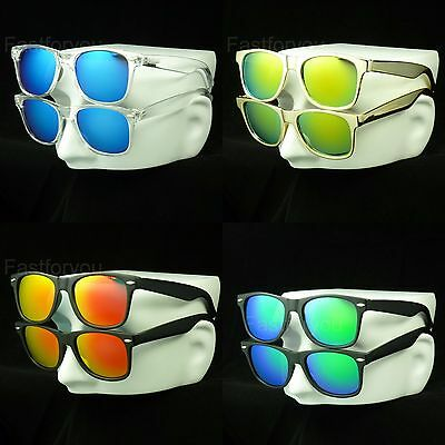 2 pair lot sunglasses pack new mirror retro vintage style men women