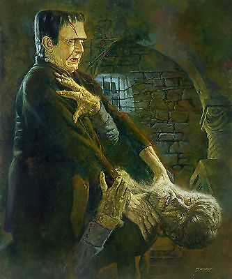 """Sanjulian's """"Frankenstein meets the Wolf Man"""" Giclee on Canvas"""