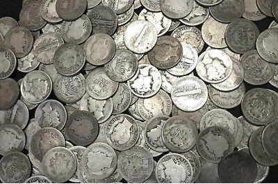 Old U.S. Silver Coins // Mercury Dime + Barber Dime // 90% Silver // 2 COINS