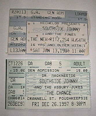 VINTAGE SOUTHSIDE JOHNNY & THE ASBURY JUKES TICKET STUBS LOT OF 2 - 1990 & 1997