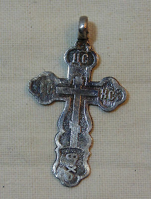 ANTIQUE IMPERIAL 84 MARKED RUSSIAN ORTHODOX SILVER CROSS CRUCIFIX PENDANT #2
