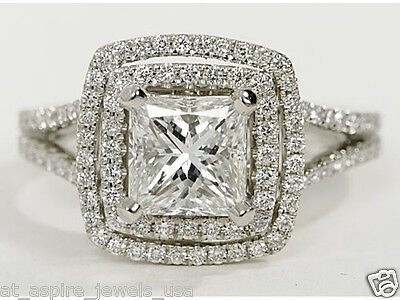 2.00 Ct Princess Cut Solitaire Engagement Ring Solid 14Kt White Gold Fine Edh