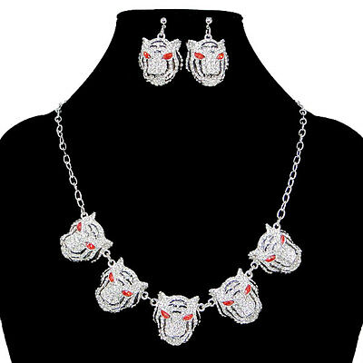 H-Quality 5 Tiger Necklace Earring Set Clear Rhinestone Crystal Animal