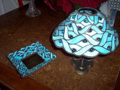 Party Lite (Spring Water) set of candle light holder and shade and dish