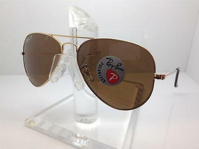 New RAY BAN Aviator Sunglasses RB 3025 001/57 Gold Frame Brown POLARIZED 62 mm