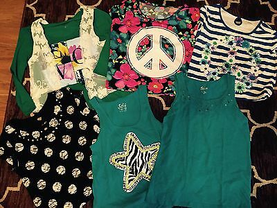 Girls Lot Of 6 Justice Tops Size 18/20 One New With Tags
