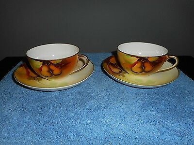 """VINTAGE SET OF 2 HAND PAINTED """"MEITO"""" JAPAN CUP & SAUCERS"""