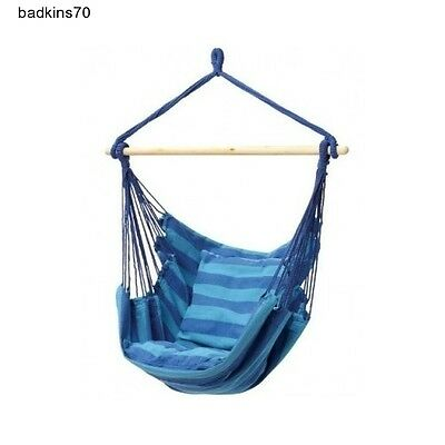 Hanging Rope Chair Porch Swing Seat Patio Camping Hammock 265 lb Max Cotton/Poly