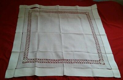 White Square Drawn Work Tablecloth 30x30 inches