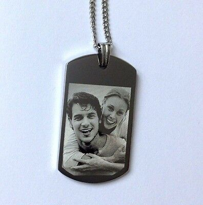 Personalised Photo/Text Engraved ID Pendant ID Tag Dog Tag Length 22 Inches