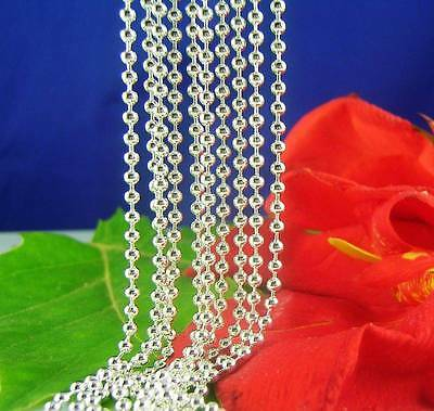 Wholesale 5pcs 925 sterling Silver Beads Chain Necklaces 16inch