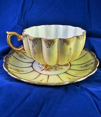 Vintage 1940-1950 Royal Sealy China Tea Cup & Saucer, Three Footed Maize Yellow
