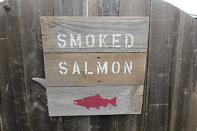 16 Inch Wood Cedar Hand Painted Smoked Salmon Sign Nautical Maritime (#s576)