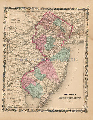 New Jersey Antique Map Johnson 1862 Original