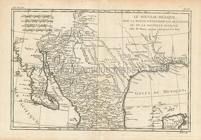 North Mexico Antique Map Bonne 1780 Original