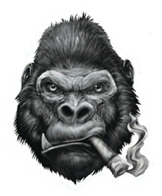 Smokin' Gorilla Motorcycle Helmet Vehicle Car Truck Window Decal Sticker